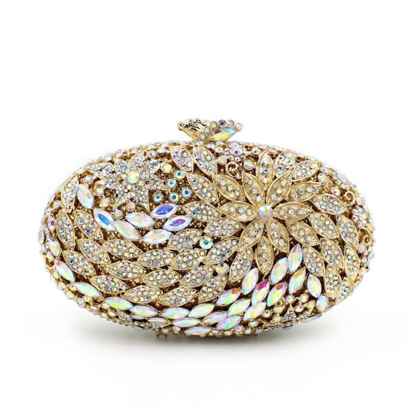 Vintage Smyzh Soirée Femmes Or D'embrayage Mariée Embrayages De Bags Sacs e0366 Luxe Cristal bags Mariage Diamant Fleur Sac Vrai Plaqué Dame vbyf6g7Y