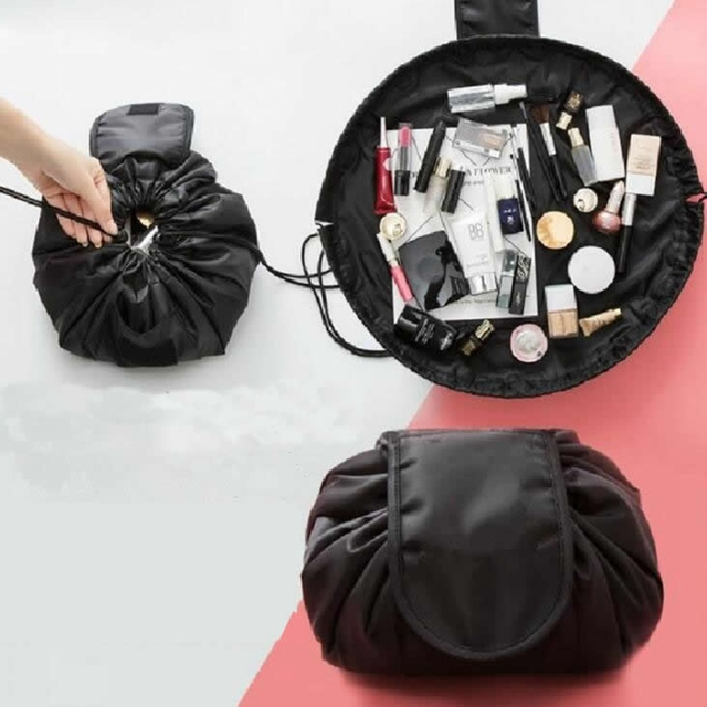 Women Travel Drawstring Cosmetic Bag Fashion Hook Loop Makeup Organizer Make Up Case Storage Pouch