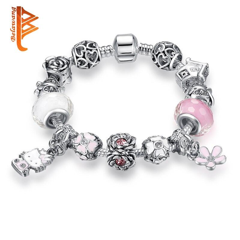 Perak Disepuh Indah Hello Kitty Charms Gelang Untuk Anak Anak Permen Murano Beads Charm Gelang Untuk Wanita Perhiasan Anak Hadiah Bracelets For Charm Braceletbracelets For Women Aliexpress