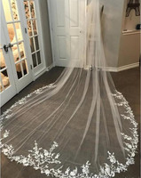 3M Long Veil Lace Appliqued Cathedral Length Appliqued White Ivory Wedding Veil Bride Veils Bridal Hair With Free Combs