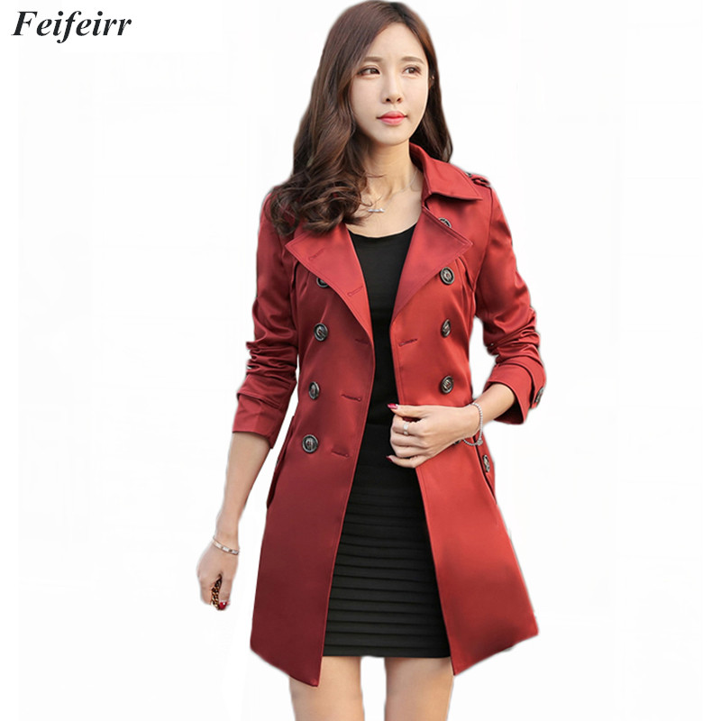 2018 Korean version Spring Autumn new high quality Slim pure color double breasted Women   Trench   Fashion Belt Plus Size 5XL coat