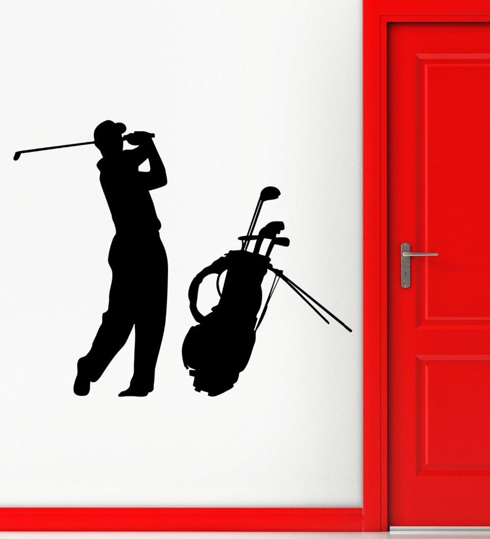 Golf Vinyl Wall Decal Golf Club Man Golf Player English Sports Fan Mural Wall Sticker Boys Bedroom Home Decorative Decoration