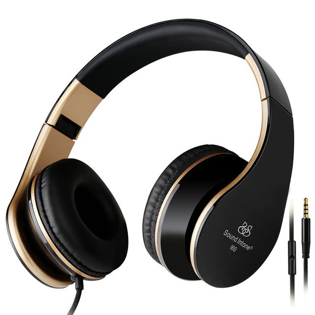 I60 Headphones for Computer with Microphone Stereo Headset Sound intone PC Phone Wire Samsung iPhone 6/6s Bass Big Earphone