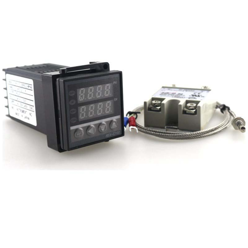 Dual Digital PID Temperature Controller REX-C100 Thermostat 100-240V AC with Thermocouple K, SSR 40A , SSR-40A rex c100 digital pid temperature control controller thermostat thermometer relay output
