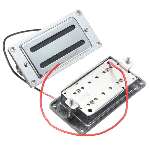 Chrome Bass Guitar Double Coil Humbucker Pickups Set humbucker pickup for electric guitar double coil bridge and neck pickups set replacement chrome