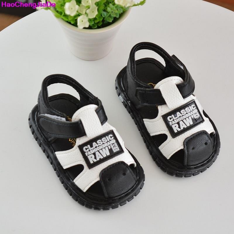 HaoChengJiaDe Leather Sandals Boys Toddler 2018 100% Soft Leather In Summer New Boys Girls Children Beach Shoe Kids Sport Sandal
