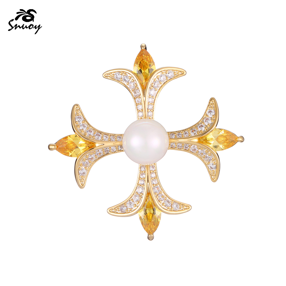 Snuoy Hot Selling Vintage Cross Flowers Zircon Brooches For Women Clothes Ornament Accessories Jewelry Brooches Pins