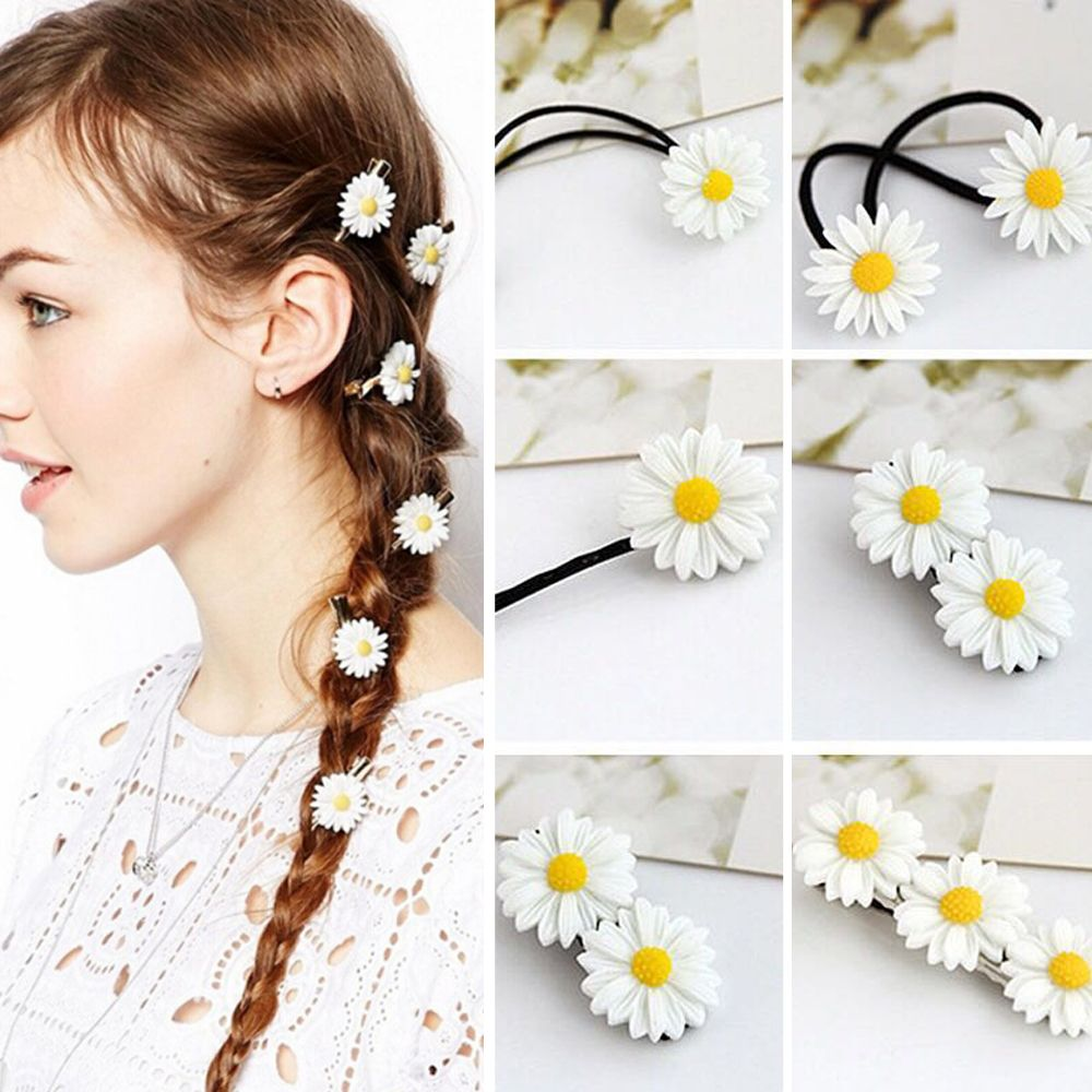 Lovely Small Daisy Flower Elastic Hair Ring Rope Bands Ponytail ...