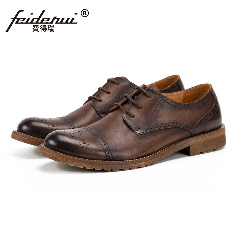 New Arrival Round Toe Derby Man Genuine Leather Brogue Footwear Formal Dress Men's Handmade Breathable Platform Shoes SS276