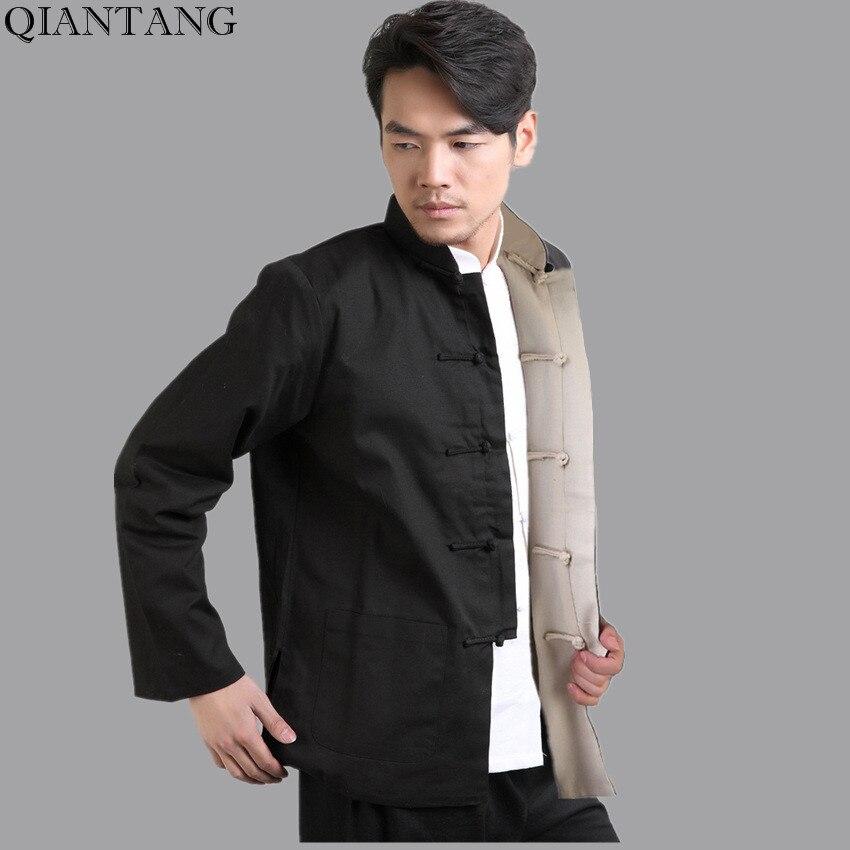Hot Sale Black Beige Men Cotton Linen Jacket Reversible Two Face Long Sleeves Coat hombre chaqueta Size S M L XL XXL XXXL Mim22J