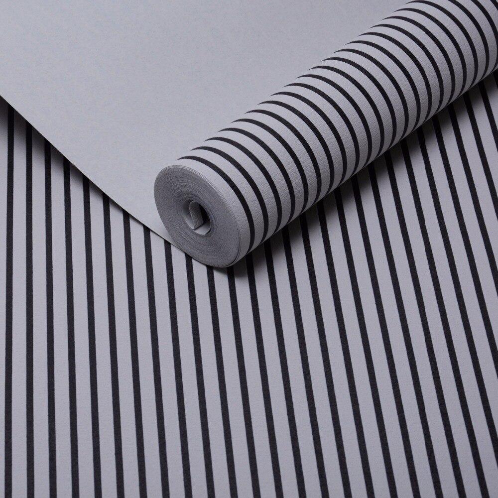 Nonwoven 3D Wallpaper Mural Modern Gaya Sederhana Hitam Putih