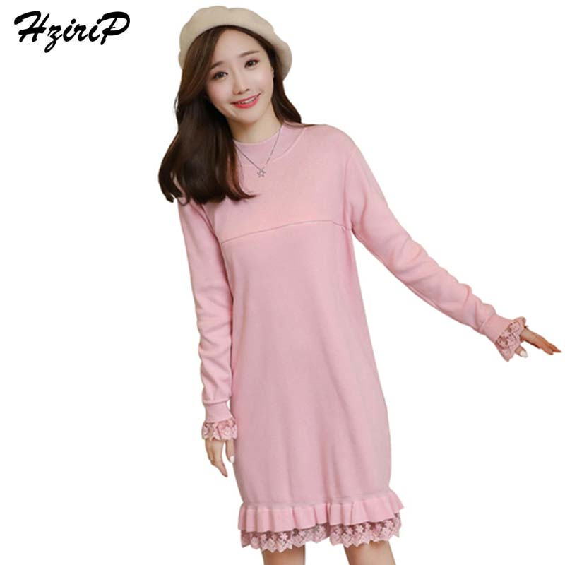 HziriP New Autumn Winter Maternity Dress Fashion Knitted Sweaters Dresses Long-sleeve Pregnancy Breastfeeding Nursing Clothing