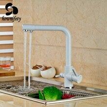 Euro Style White Farbe Küchenarmatur Doppel-griffe Schwenkauslauf Mixer Wasserhahn Deck Montiert