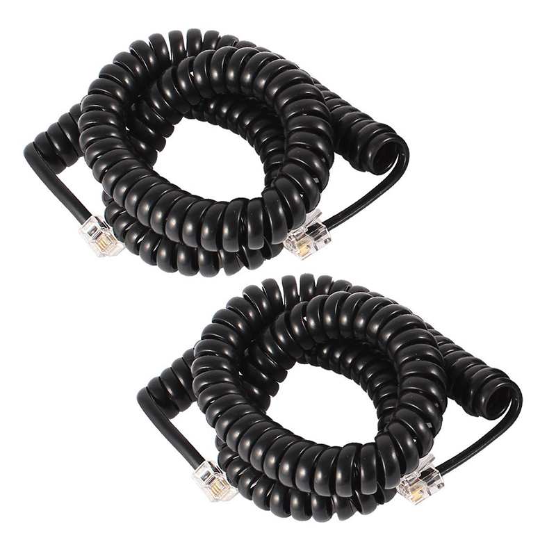 2 Pcs 3 meter Coil Stretchy RJ9 4P4C Elastic Telephone Cable Black-SCLL