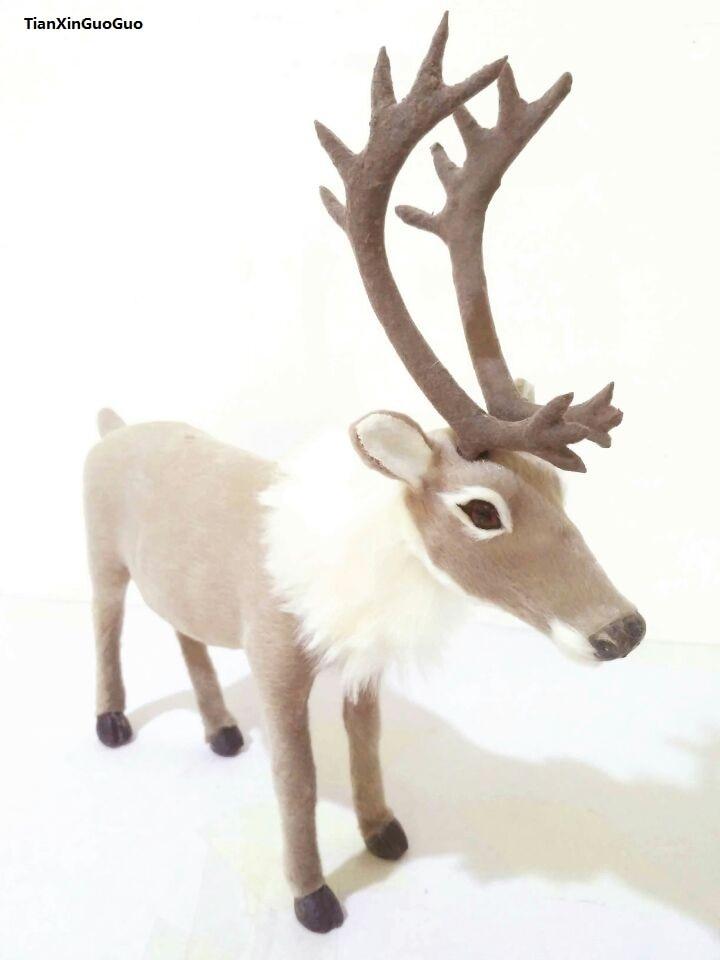simulation reindeer large 25x24cm model,polyethylene& fur christmas deer toy handicraft,prop,home Decoration,Xmas gift b2915 large cock 42x40cm hard model toy polyethylene