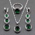 925 Sterling Silver Women Jewelry Sets AAA+ Quality Green Zircon White Zircon Earrings/Pendant/Necklace/Ring Free Gift Box 196