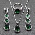 Plata de Ley 925 Mujeres Juegos de Joyería AAA + Calidad Verde Circón Aretes de Circonio Blanco/Pendiente/Collar/Anillo Caja de Regalo libre 196