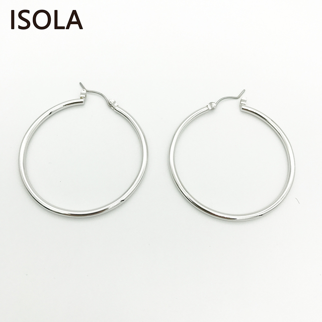 Isola Top Quality Round Shape Smooth Surface Clic Large Creole Earring Circle Hoop