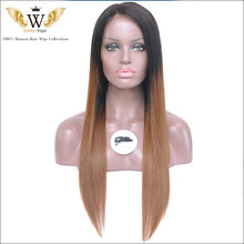 6A Ombre Glueless Full Lace Human Hair Wigs With Baby Hair Brazilian Straight Lace Front Human Hair Wig 2 Tone  Human Wigs