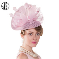 2017 Summer Elegant Pink Flowers Feather Wedding Dress Hat For Woman With Bowknot Banquet Fascinator Trilby