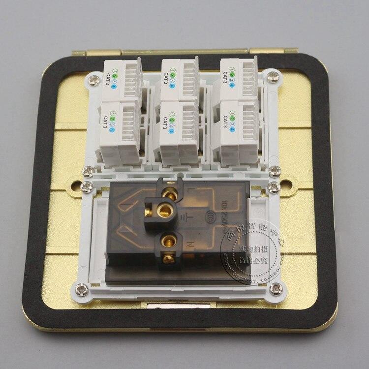 Флип-этаж гнездо типа 6 портов с разъемами RJ11 cat3 замыкают телефон и пять отверстия розетки
