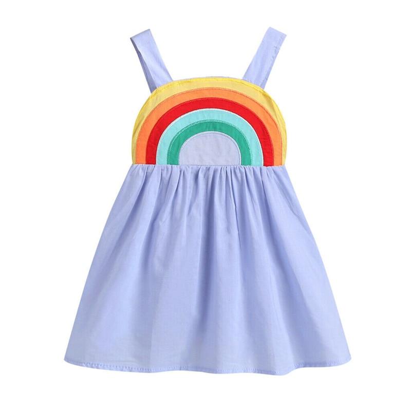 2019 Bebek Çocuk Bebek Kız Gökkuşağı askı elbise Casual Kolsuz A-Line Backless Sundress Renkli Kıyafet yaz giysileri 1-5Y