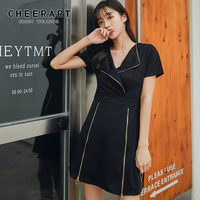 Cheerart 2 Piece Dress Set Women Summer Dress And Shorts Elastic Waist Zipper Lapel Black Two Piece Outfits