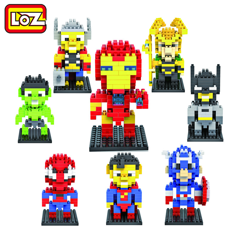 LOZ Super Hero Spiderman superman batman Iron Man Diamond Building Blocks Figure Toys Children Gift Free Shipping building blocks super heroes back to the future doc brown and marty mcfly with skateboard wolverine toys for children gift kf197