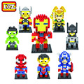 Loz diamond building blocks the avengers spiderman superman batman iron man figura juguetes para niños regalos envío gratis