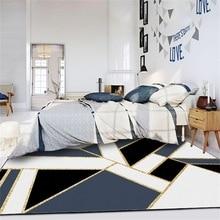 Imitation marble geometric square rug Digital printing Crystal fleece Non-slip crawling mat home carpet bedroom floor Hotel