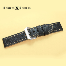 24mm Black Vintage Genuine Leather Watch bands Double -leath
