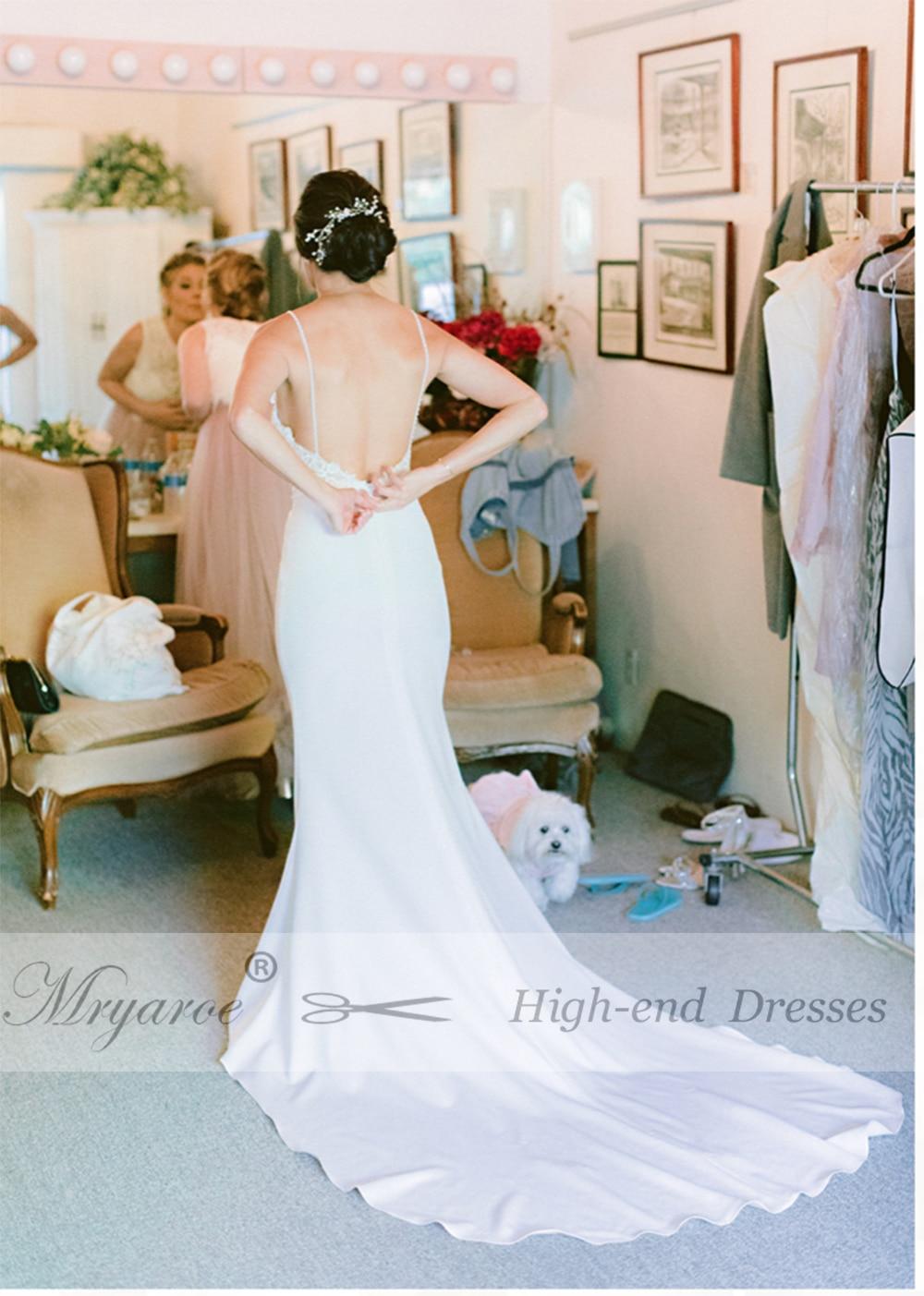 Image 5 - Mryarce Unique Bridal Crepe Mermaid Gowns Spaghetti Straps Lace Beading Open Back Wedding DressesWedding Dresses   -