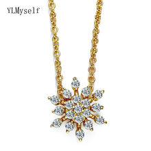 Very cute Snowflake rhinestone charms pendant Suspension Lovely Gift Gold-color Crystal Necklace for women sweet cute women s pink rhinestone floral pendant necklace