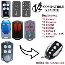 V2 PHOX2, PHOX4, PHOENIX 2, PHOENIX 4, TSC2, TSC4, TRC2, TRC4, TXC2, TXC4, HANDY2, HANDY4 433,92 МГц плавающий код дубликатор дистанционного управления
