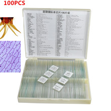 100 pcs Prepared Glass Microscope Slides for Student Science Research Learning