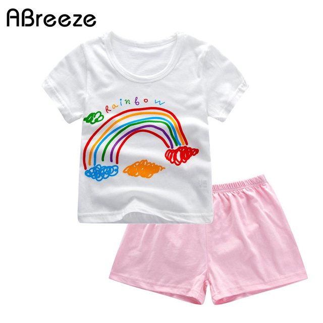 8325d324276 2018 Summer children clothes casual rainbow print kids clothes sets for  boys   girls 2-8Y cotton girls clothing sets 2PCS SQ061