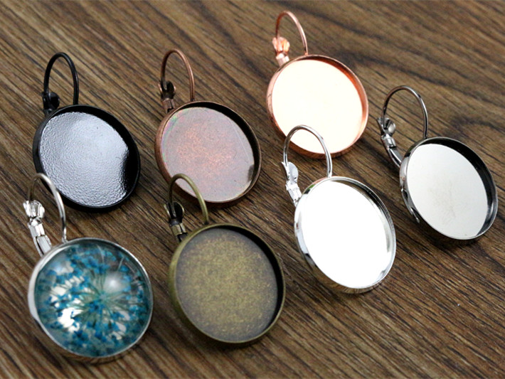 18mm 10pcs 9 Colors Plated French Lever Back Earrings Blank/Base,Fit 18mm Glass Cabochons,Buttons;Earring Bezels