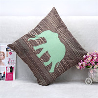 45x45cm Decorative Pillow Cases Home Elephant Cotton Linen Pillow Case Cover Linen Pillowcase Free Shipping EF181