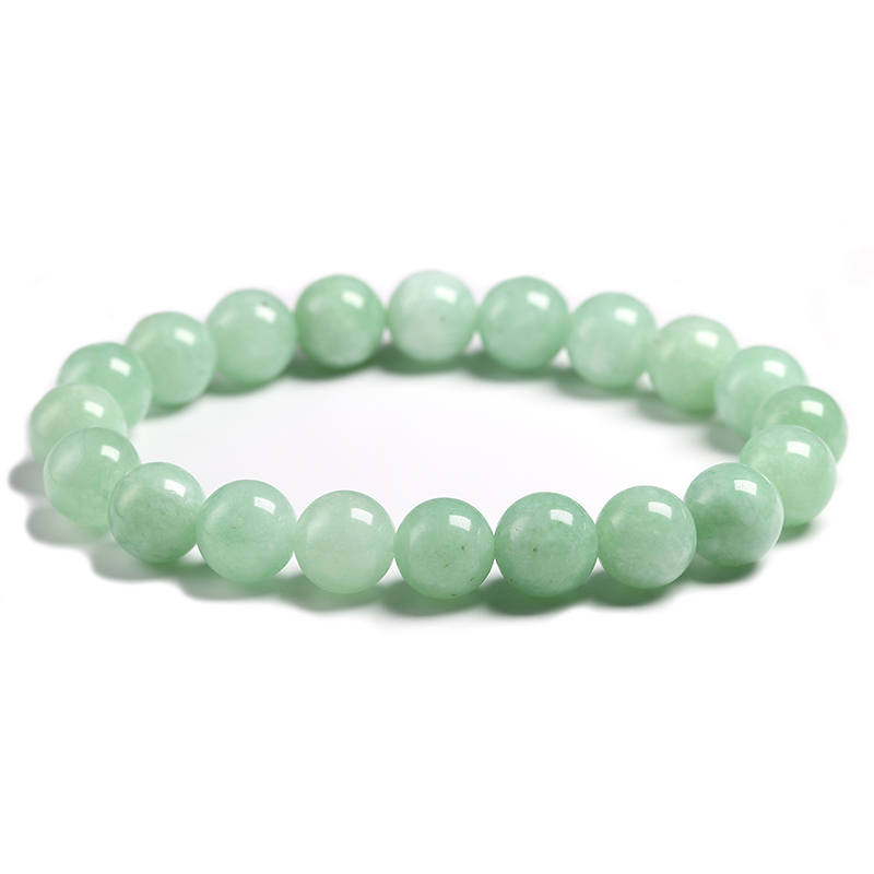 Fine AAA 100% Natural Burmese Green Jade Round Beads Bracelet Women Stone Jewelry Gemstone Gift Handmade Strand Bracelets