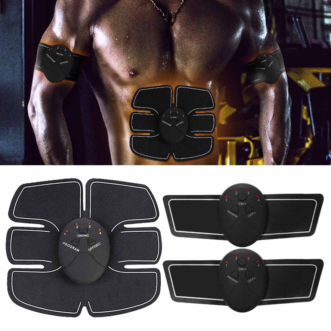 7Pcs/Set Pro EMS Stimulation Power Abdominal Muscle Trainer Fitness Vibration Plate Slim Body Loss Weight Massager