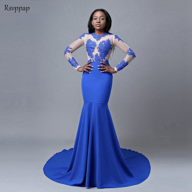 b274c55039f Royal Blue Mermaid Prom Dresses 2019 Long Sleeve Top Lace Stretch Satin  African Party Prom Dress