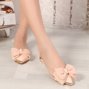 2017 Spring Autumn Sweet Flat Shoes Women Ballet Flats Pointed Toe With Big Bowtie Shoes For Women Casual Shoes zapatos mujer sweet women high quality bowtie pointed toe flock flat shoes women casual summer ladies slip on casual zapatos mujer bt123