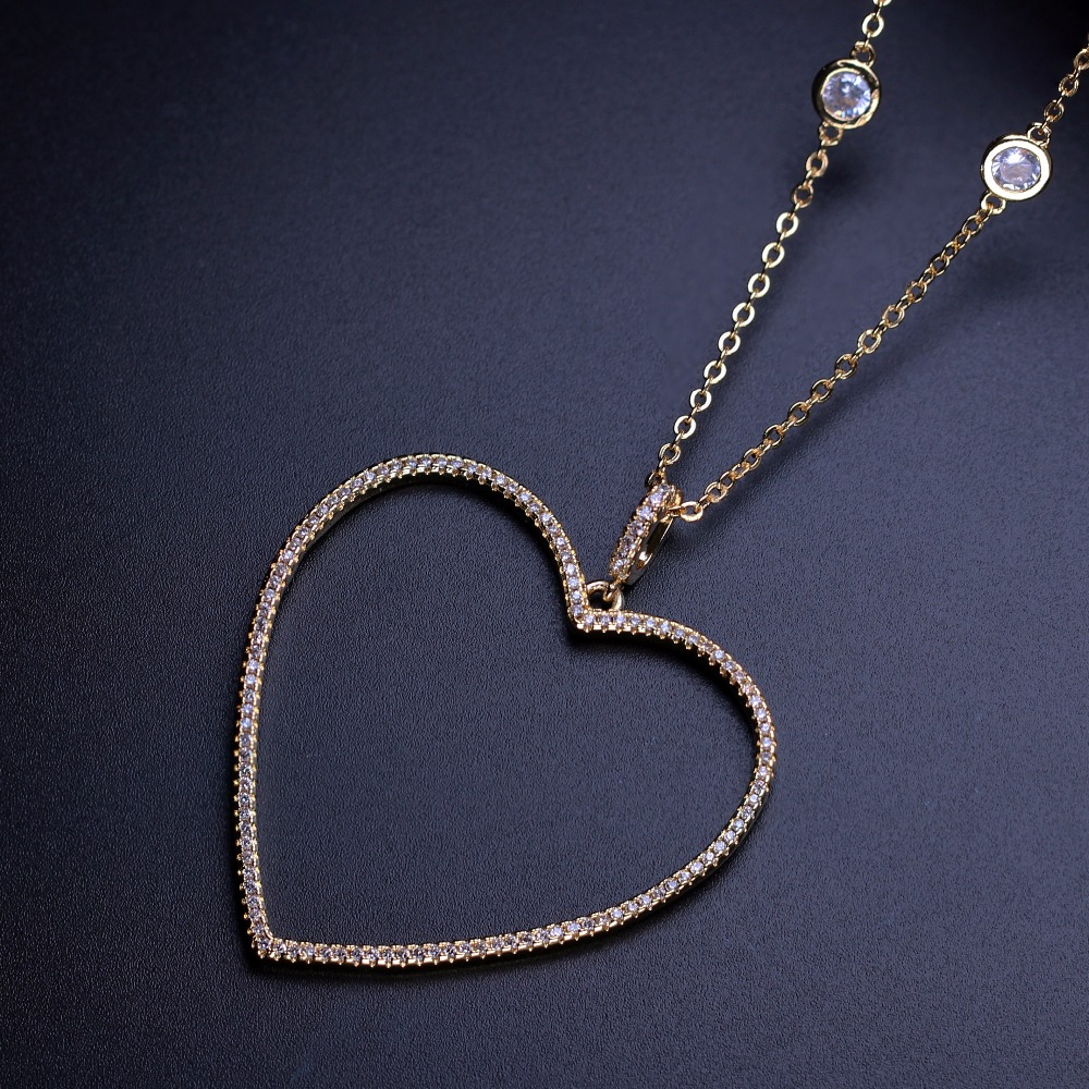 Thanksgiving Heart shape Pendant Necklace Cubic zirconia necklace Women Jewelry Fashion Women gift NYL007202W купить в Москве 2019