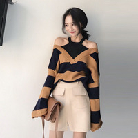 OL Flare Sleeve Womens Autumn Tops Asymmetric Sweater Striped Off Shoulder Loose Pullovers Knitted Sweater