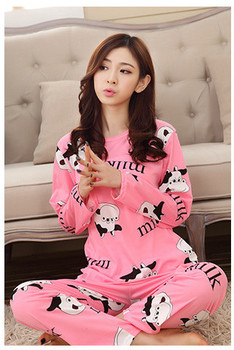 2019 New Autumn Winter 2pieces Pyjamas Set Women Girls Cotton Round Neck Pajamas Sets Teacup Cat Sleepwear Clothes Free Shipping цена 2017