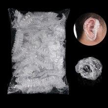 50/100 pièces jetables en plastique étanche oreille protecteur couverture casquettes Salon coiffure colorant bouclier Protection bonnet de douche outil