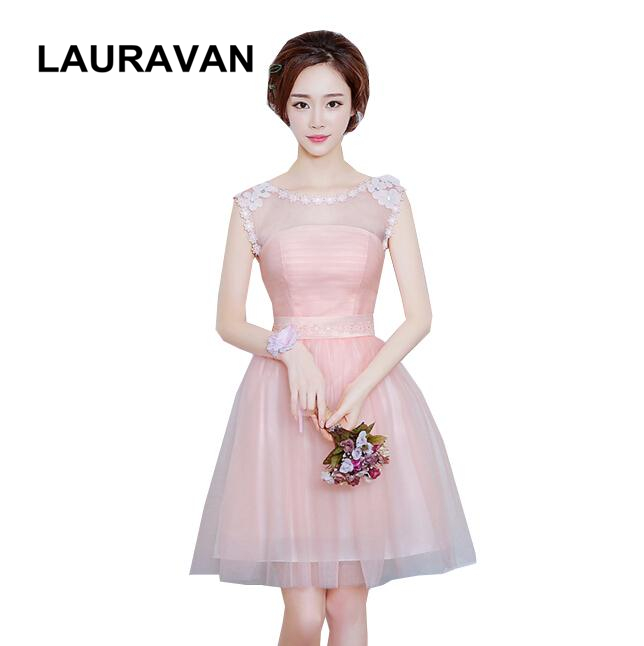 Petite Gowns For Weddings: 2018 New Arrival O Neck Elegant Pink Girls Bridesmaid