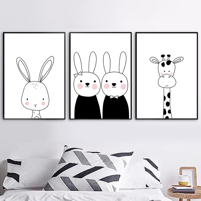 Black White Cartoon Giraffe Rabbit Wall Art Canvas Painting Nordic Posters And Prints Wall Pictures Baby Kids Room Nursery Decor