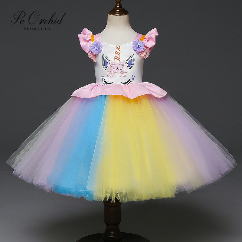 PEORCHID Pink Blue   Flower     Girl     Dresses   Princess Baby   Girl   Birthday Unicorn   Dress   Wedding Party   Dresses   For Kids Evening Gowns