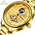 KINYUED классические механические часы с золотым скелетом для мужчин  ремешок из нержавеющей стали  Топ бренд  Роскошные мужские часы  доставка...